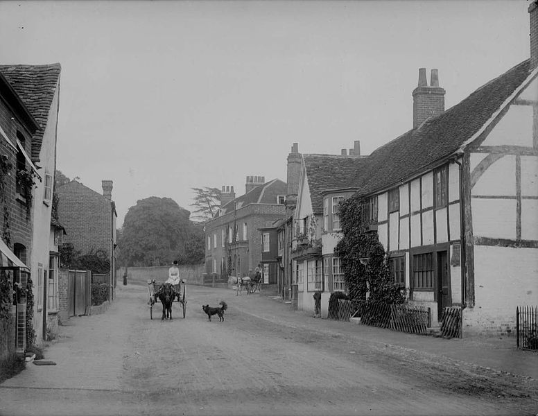 Church Street, Wargrave-on-Thames c 1888 (where Dick Fuller-Maitland was born. On the right