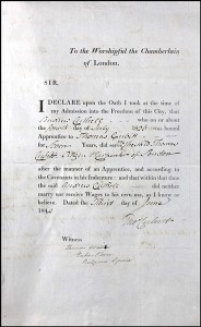 Andrew Cuthell's Freedom of the City of London application in 1843, indicating his apprenticeship to his