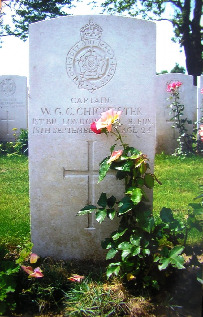 Capt Chichester's grave in Caterpillar Valley cemetery, ref .... photo courtesy of Simon Jervis (or