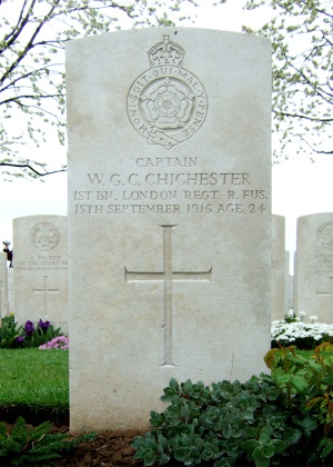 Captain Chichester's grave in Caterpillar Valley cemetery, ref XVI.E.37 (The Great War Photographic