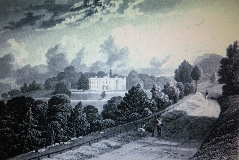 Old engraving, after J.P. Neale, of Denbies House about 1830, showing W.J.Denison's road snaking up the hill from Dorking.