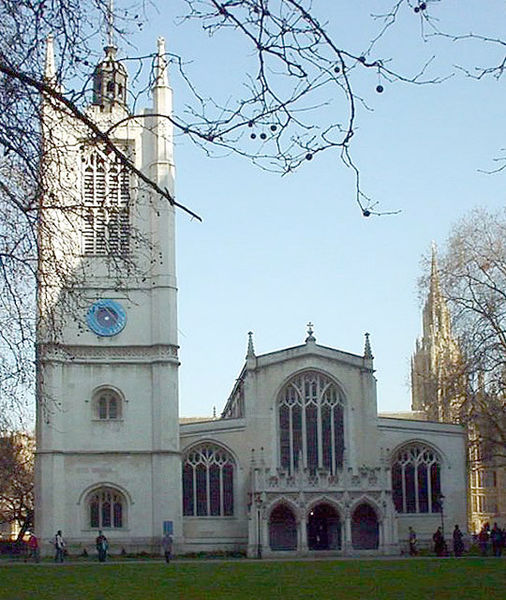 St Margaret's Westminster, where many society weddings take place. The Palace of Westminster is in the right hand