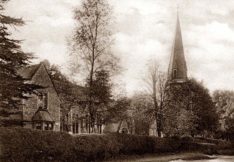 St Barnabas and the School in 1932, both built by George Cubitt 80 years previously (Friths, from the postcard collection of Alison Newton)