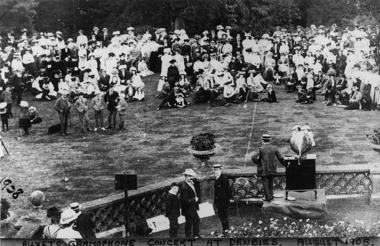 A Auxeto Gramophone Recital at Denbies on 19th August, 1908 - probably most of the estate's population were in attendance,