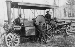 A Burrell engine logging at Ranmore about 1914 (Dorking Museum)