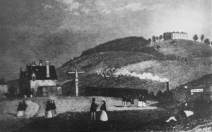 Dorking Town (now West) Railway Station in the 1850s, where materials had been unloaded for Denbies House on the hill behind (Dorking