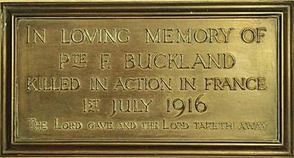 commemorative plaque to Fred Buckland, Brian Belton