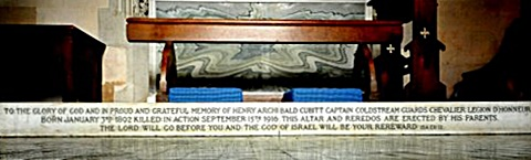 The altar pavement commemorating Captain Henry Archibald Cubitt, Brian