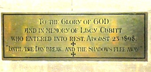 Lucy Cubitt's memorial plaque in St Barnabas Church, Brian Belton