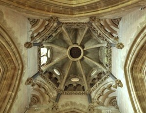 The underside of the steeple. The dark circle in the centre is a trapdoor (larger than it looks!) , through which bells can be lowered for any necessary maintenance (Brian Belton)