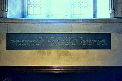 he plaque on the west wall of the Cubitt Chapel to the three surviving brothers, one of whom (Roland) became the 4th Lord Ashcombe, Brian