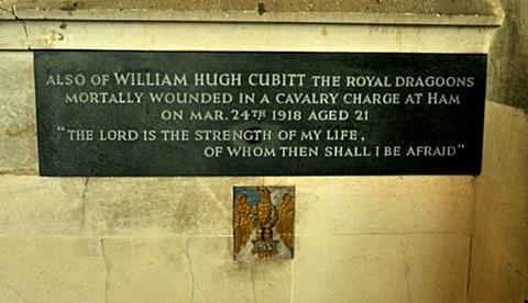 William Hugh's commemorative plaque with his regimental