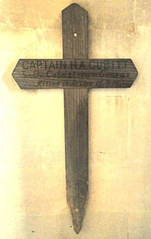 Harry's battlefield grave marker, returned after being replace by another wooden cross, and then a headstone. Both crosses are now hanging in the Cubitt Chapel at St Barnabas