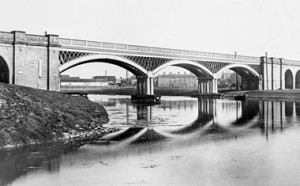 Cubitt's cast iron railway bridge over the River Nene at Peterborough. It still carries the two up lines, but another bridge alongside carries the other lines (Engineering