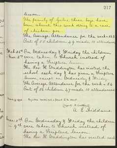 Entry in St Barnabas school logbook for the week February19th – 23rd, 1894, ….credit ? Surrey History Centre? Find My Past etc