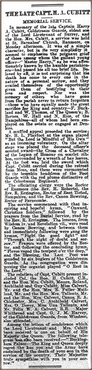 """Cutting from the """"Surrey Mirror and County Post"""" of 29th September 1916 (reproduced by permission of Surrey History Centre. Copyright of Surrey History Centre). For greater ease of reading, click here for a transcription."""