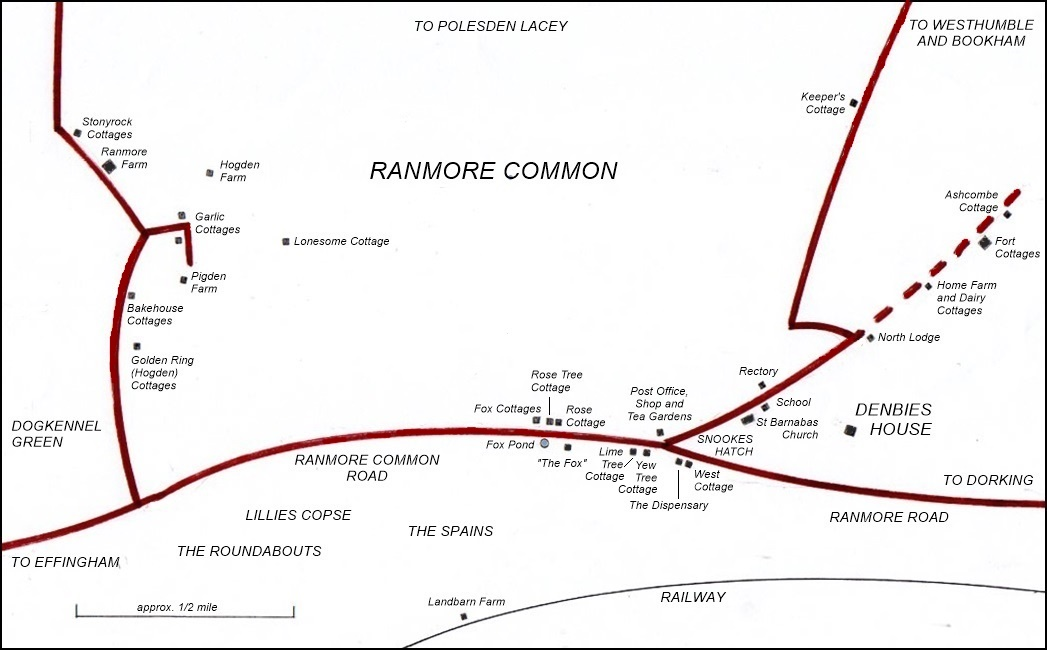 Ranmore map framed and labelled 4