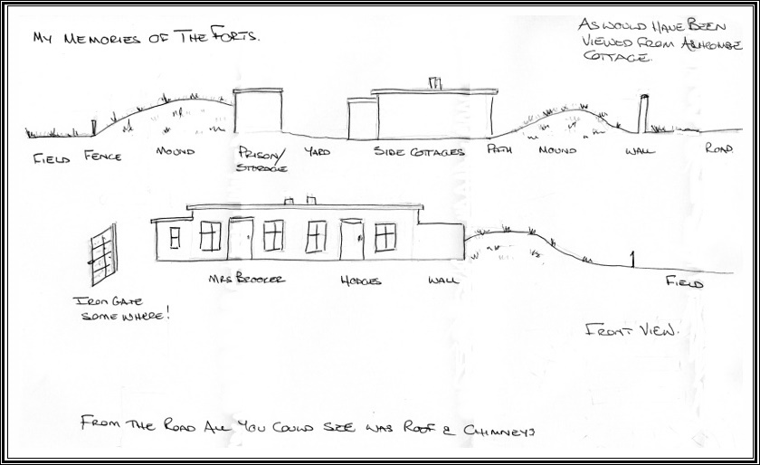 Sketch drawn from memory in 2016 of Fort Cottages by Beryl Davis of nearby Ashcombe Cottage. This shows the similiarity to Henley Fort (see photograph above).