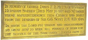 The plaque in St Barnabas Church, Ranmore Archive
